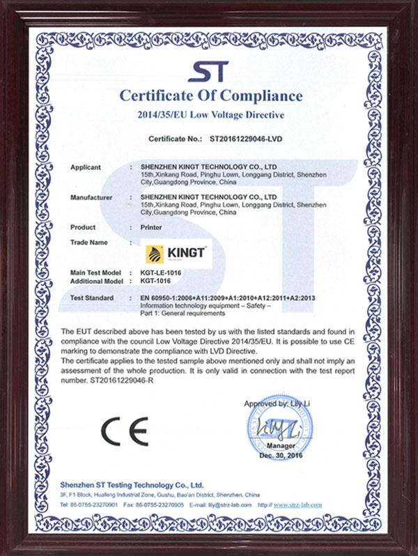 Certificado 1016 CE LVD