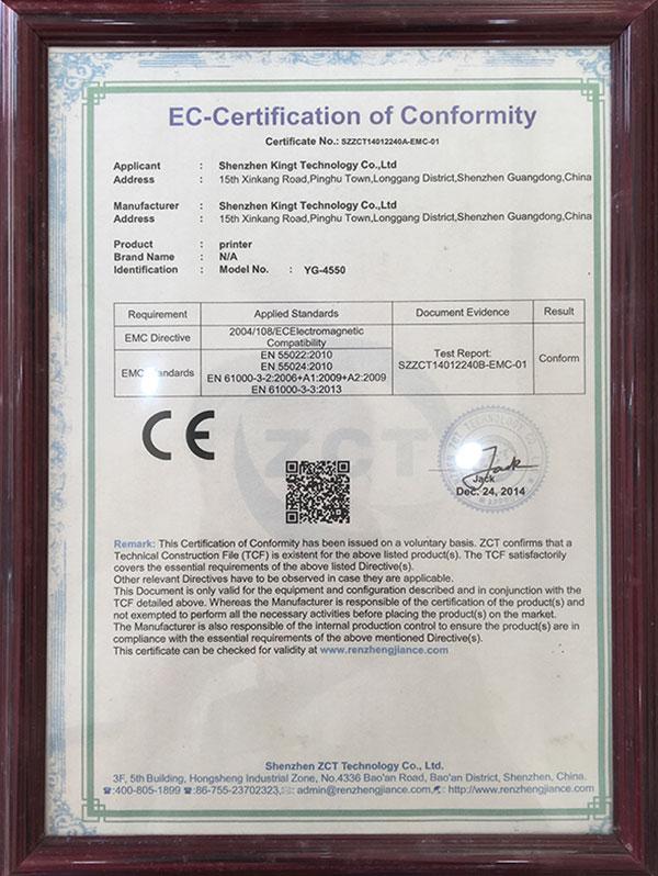 Certificación CE YG4550