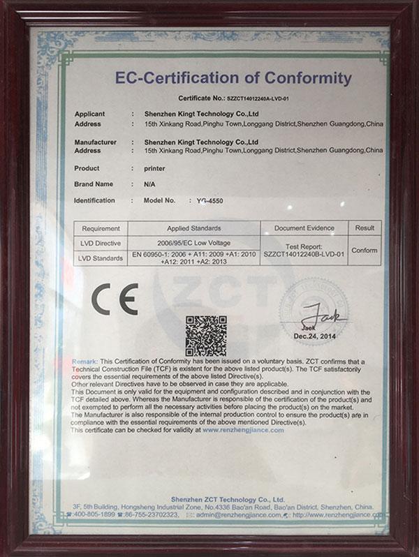 Certificado LVD YG 4550 CE